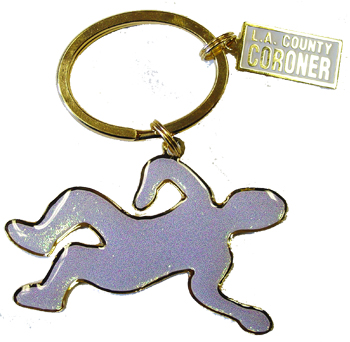 L.A. County Medical Examiner-Coroner Glitter Body Outline Key Chain